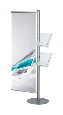 Floor Standing Brochure Holders - A4/A5/DL Leaflet Stand with Banner