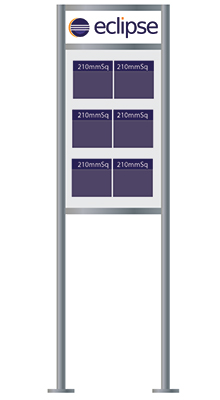 Floor Standing Brochure Holders - 6 pocket 210mm Sq Brochure Stand with logo - Floorstanding