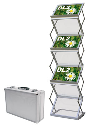 Folding & Portable Brochure Stands - 6 Pocket A4 'Landscape' -  Folding