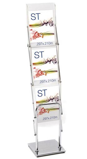Folding & Portable Brochure Stands - 3 Pocket A4 Foldup Chrome - Folding