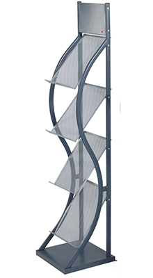 Mobile Stands - 4 x A4 Brochure Stand Grey - Floorstanding