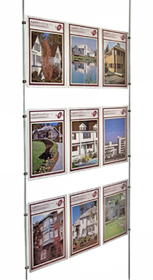 Floor Standing Brochure Holders - A4,A5 & DL Pocket on cables - Wall Mounted