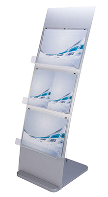 Floor Standing Brochure Holders - 3 Pocket A3 Leaflet Stand - Floorstanding