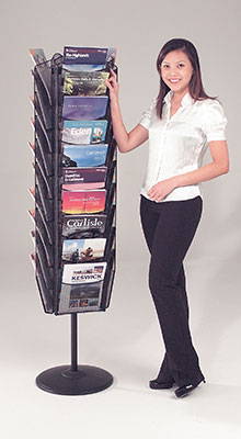 Revolving Brochure Stands - 30 Pocket A4 Carousel -  Black
