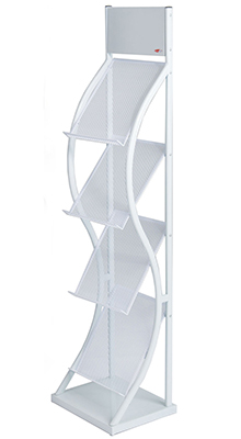 Mobile Stands - 4 x A4 Brochure Stand White - Floorstanding
