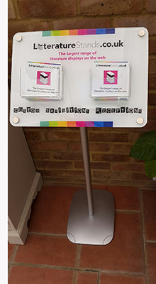 Brochure Stands with Posters - Custom Angled Brochure Stand - Floorstanding