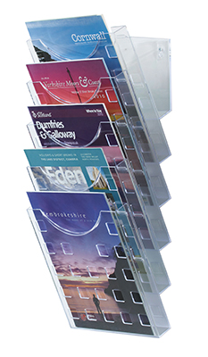 Wall-mounted Brochure Holders - 5 x Pocket A4 Clear - Wall Mounted