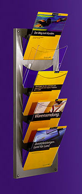 Wall-mounted Brochure Holders - 5 Pocket A4 Leaflet Stand - Wall Mounted