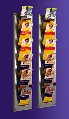 Wall-mounted Brochure Holders - 6 Pocket DL Brochure Holder - Wall Mounted