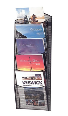 Magazine/Catalogue Holders -  5/10 pocket A4 Mesh Leaflet Stand  - Wall Mounted